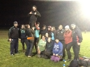 The gals and coaches after a great practice. I'm on the back row in the white sock cap glowing with exhaustion!