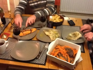 "A feast fit for Slane's Kings of ""Craic"" a.k.a. Paudie & Jack - Braised venison with red wine reduction and carrots....also had oven roasted Ray Wings with herbs and lemon (yes, Like Manta Rays...it was a lovely white fish once you picked out the bones)"