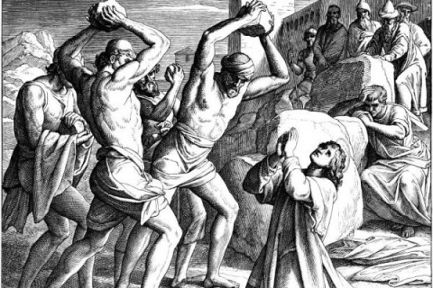 St Stephen, praying for the souls of the murderous mob stoning him to death for his faith in Jesus.