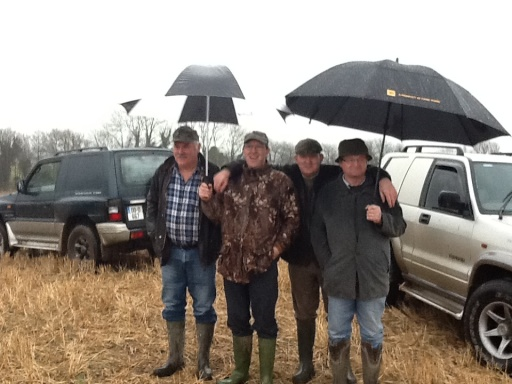 Enjoying the raining day following the Hunt with new friends: Brian, Johnny, Tony and Eugene