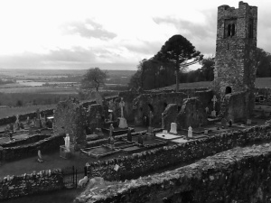 Looking down from the monastery tower into the church yard at The Hill Of Slane