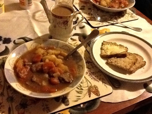 A delicious warm meal of Irish Stew, Mrs. Coyle's Brown Bread, and coffee with Bailey's awaited us after our mucking around The Hill of Slane.