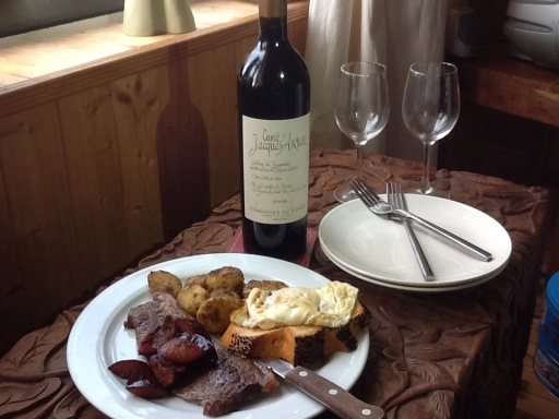 A shared brunch plate to properly taste this lovely bottle of Jacques Arnal