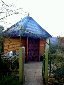 "Frank's ""secret garden"" yurt that houses an amazing earth oven"