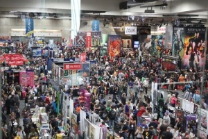 This photo is showing only about 3-5% of the crowd in the main convention hall at Comic Con International San Diego, where fans & super-fans (a.k.a geeks) gather for all things comic, sci-fi, and pop culture! In 2012 over 130,000 fans attended daily, taking part in 625 hours of programming in 4 days, as well as 460,000 square feet of Exhibit Hall vendor space. It was amazing!! You couldn't help be be a fan/geek of something there!!