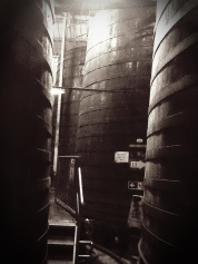 Enormous century old vats of cider at Weston's Cider Mill in Much Marcle, UK