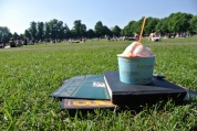 A very British Sunday afternoon on the Green, reading the paper and eating gelato in the sun