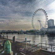 A tweaked image of a otherwise dull sunrise in London