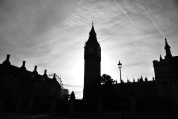 B&W sunrise of Big Ben, London