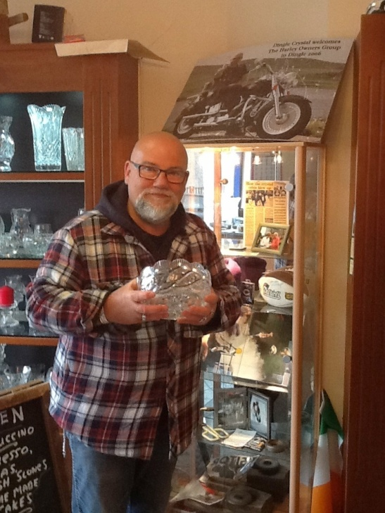 "Sean is holding the original bowl that was his ""test"" piece he had to design and cut for his exam to become a Master Designer at Waterford Crystal 25 years ago."