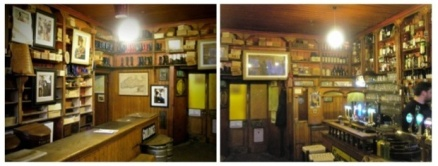 Interior of Dick Mack's Haberdashery & Pub, recently included as a stop on the Irish Whisky Trail for its outstanding selection of Irish and Scotch Whiskeys