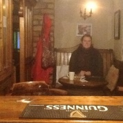 """Rucksack Foodie sitting in the """"snug"""" at Boyles Pub writing some thoughts on a cold winter afternoon"""
