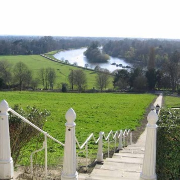 Top of Richmond Hill, overlooking the Thames River, London.