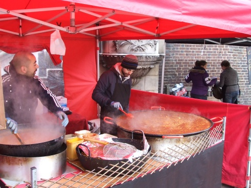 The smell of the Valencia Paella slow simmering was heavenly at the Piccadilly Food Market at St. James church