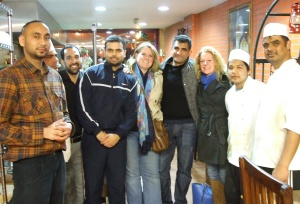 "Myself, Avtar & Annie with the fabulous crew at Desi Tadka on Southall in ""way-west"" London"