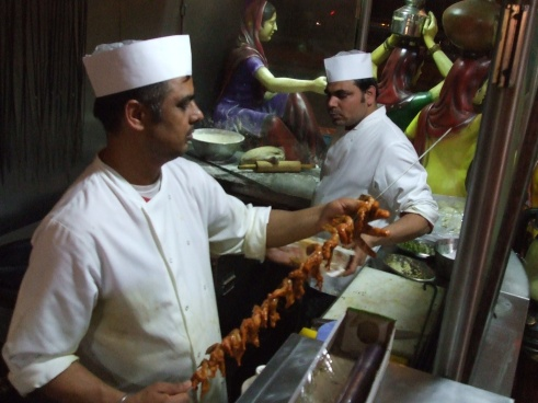 Skewering prawns for the tandoori
