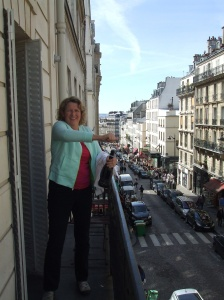 A little celebratory champagne on our balcony above Rue Lepic in Montmartre Dist. Of Paris