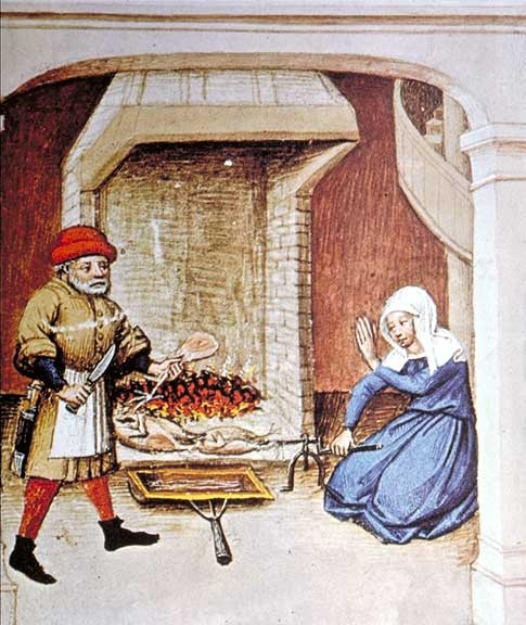 "Medieval open hearth cooking, the simplest of cuisine and methods that we still enjoy in these modern times. ""The Decameron"", Flanders 1432"