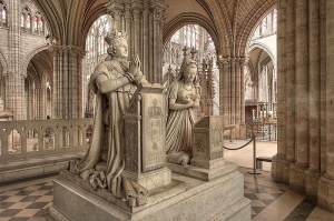 Louis XVI & Marie Antoinette's effigy in St. Denis, they rest below in the tombs which are accessible to the public.
