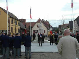 Westhoffen Mayor reading the rememberance speech for WWII