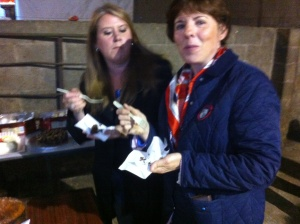 Helping Mary Burns judge the bake-off at the Dairy Men's Annual BBQ...it was a tough job !