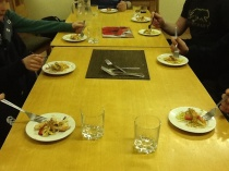 Brave Irish scouts sampling hoisin stir fried beef aorta.