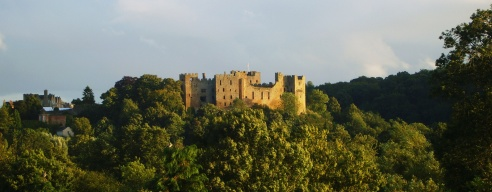 Ludlow Castle at sunset. Ludlow, Shropshire England