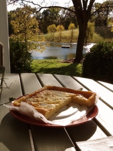 Enjoying a fall afternoon on the porch with St.Louis original Gooey-butter Cake from near-century old family run, Missouri Baking Company.