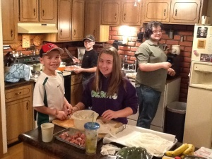 My mini sous chefs preparing Grandma's birthday dinner. (My son Sam, nephews Garret and Drew, and niece Kylie)