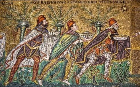 """Three Magi"" mosaic portion found in Sant' Apollnare Nuovo, Ravenna Italy"