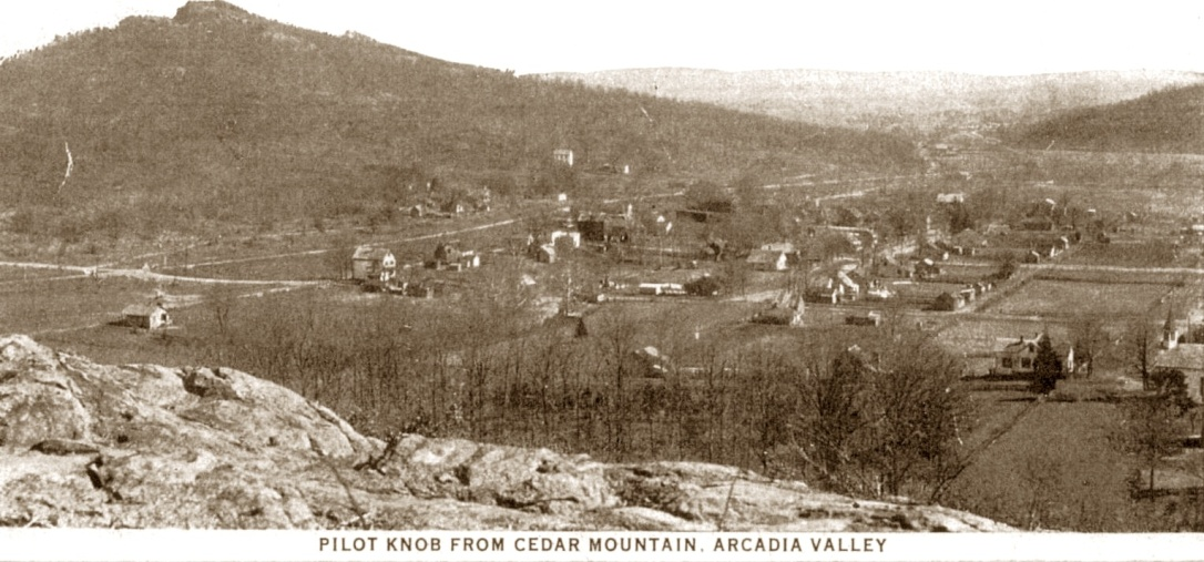 Old postcard view of the scenic Arcadia Valley at Pilot Knob, Mo. The foothills of the Ozark Mountains.
