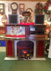 My favorite find on this day: early 70's electric fireplace with hidden HIFI stereo and mini bar that fold down from the mantel piece!
