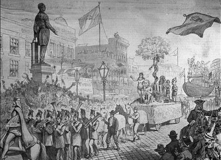 1879 illustration of The Krewe of Rex parading for. Mardi Gras. Click on picture for more interesting info on Mardi Gras and New Orleans