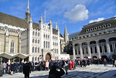 The crowd gathering in Guildhall Square for the annual Pancake Races, London