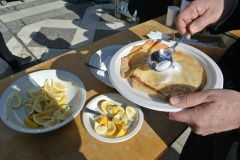 Traditional Shrove Tuesday Pancakes in London with squeeze of lemon and sugar, delicious!