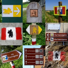 Route markers along the 1700km (1100m) Via Francigena