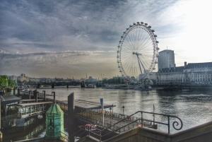 A tweaked image of an otherwise gray London sunrise