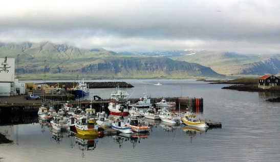Beautiful and typical harbor scene of fishing and leisure boats awaiting there captains along our route in Iceland