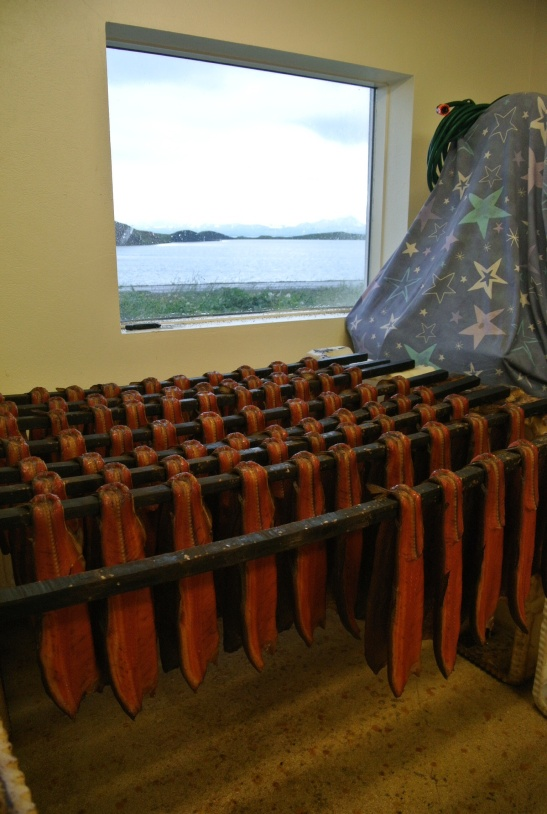 "Smoked trout waiting to be packaged. The gorgeous view from Gylfi's ""office"" window over looking Myvatn Lake."