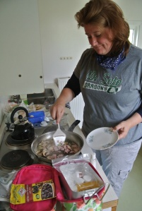 Me whipping up a hearty breakfast in the campground kitchen before we headed out to tackle a 3 hour rafting adventure down Iceland's Grade 4+ East River.