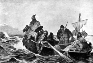 Norsemen landing in Iceland. Illustration by Oscar Wergeland (1909).