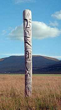 Modern pagan idol at Haukadalur, Iceland reminiscent on ones that may have been placed by early Viking settlers