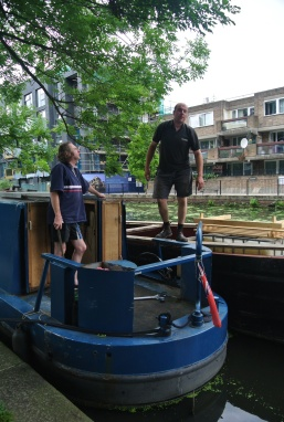 Refueling from a floating fuel barge in London's little Venice